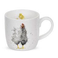 Royal Worcester Wrendale Curious Hen Mug  310 ml- gift boxed mug with images of a hen