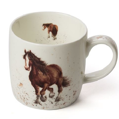 Royal Worcester Wrendale Gigi (Horse) 310 ml- gift boxed china mug with images of a horse