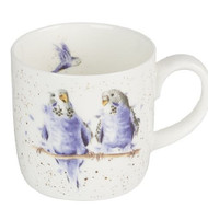 Royal Worcester Wrendale Date Night (Budgie) 310 ml- gift boxed china mug with images of budgies on a branch