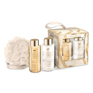 Grace Cole Luxury Bathing Gift Set - Time to Sparkle - 100ml Body Wash, 100ml Body Cream, Body Polisher  - all packed in a cardboard cube gift box with gold trimmings