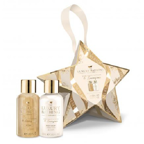 Grace Cole Luxury Bathing Gift Set - Reveal - 50ml Body Wash,50ml Body Cream packed in a star shape pack with gold accents