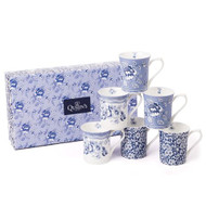 Queens Blue Story Royale Mug Set 6pce set Gift Boxed - Albertine, Calico, Tonquin designs set of 6 fine china mugs with a blue and white design