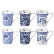 Queens Blue Story Royale Mug Set 6pce set NOT Gift Boxed - Albertine, Calico, Tonquin designs set of 6 fine china mugs with a blue and white design