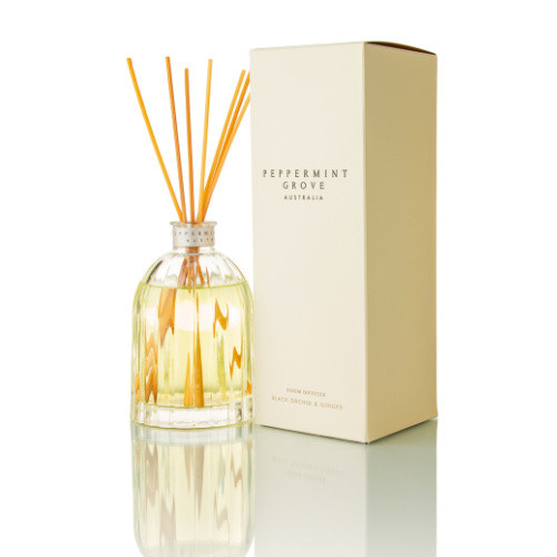Peppermint Grove Reed Diffuser 100ml - Black Orchid & Ginger glass bottle with reeds and fragrance oil