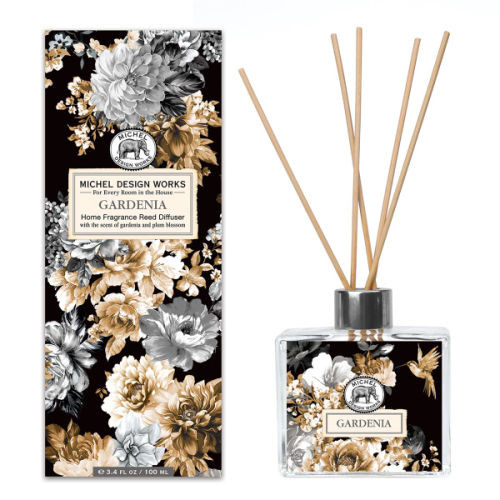 Gardenia Home Fragrance Diffuser by Michel Design Works 100ml fragrance diffuser with sepia colouring shown with gift box