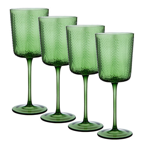Artemis Green Wine Glass by Ladelle - set of 4