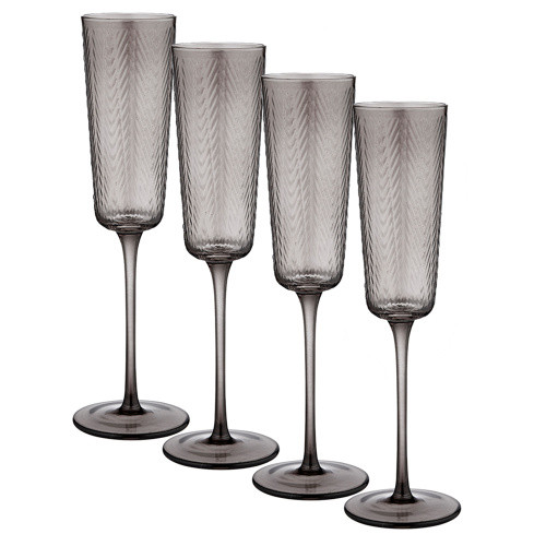 Artemis Charcoal Champagne Glass by Ladelle - set of 4