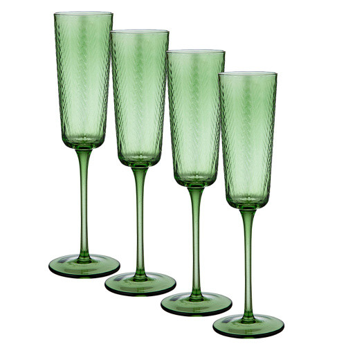 Artemis Green Champagne Glass by Ladelle - set of 4