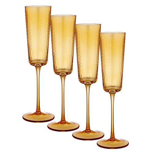 Artemis Amber Champagne Glass by Ladelle - set of 4
