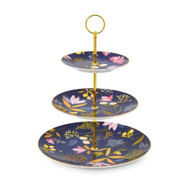 Sara Miller London Portmeirion 3 Tier Cake Stand - Navy - Gift Boxed shown here assembled