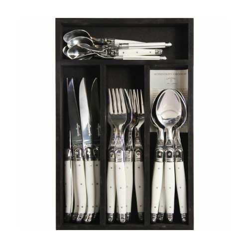 Laguiole 24 pce Cutlery Set Pure White by Jean Dubost - 1.5mm