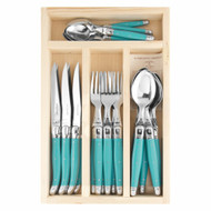 Laguiole 24 pce Cutlery Set Turquoise by Jean Dubost - 1.5mm