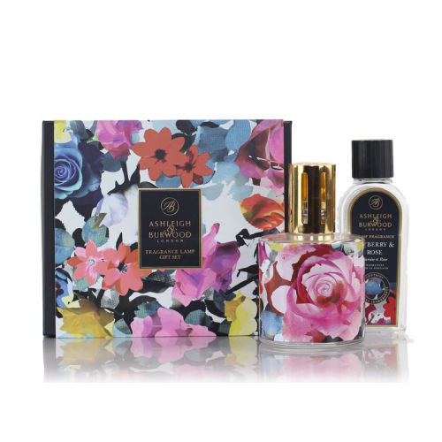 Ashleigh and Burwood Lamp and Oil Gift Set In Bloom and Tayberry Rose
