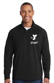 YMCA CHILD CARE STAFF MENS SPORT WICK STRETCH 1/2 ZIP PULLOVER