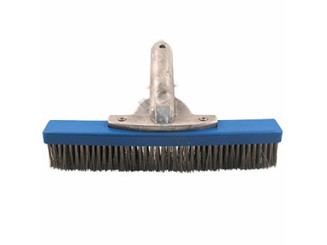 "10"" SS ALGAE BRUSH W/ ALUMINUM HANDLE FOR PLASTER SWIMMING POOL (PS316SS)"