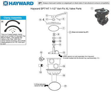 HAYWARD SP0714T BACKWASH VALVE PARTS