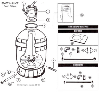 HAYWARD S245T AND S190T SAND FILTER PARTS