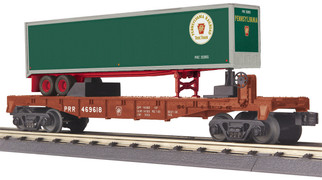 30-76737 O Scale MTH RailKing Flat Car w/40' Trailer-Pennsylvania Car No. 469618