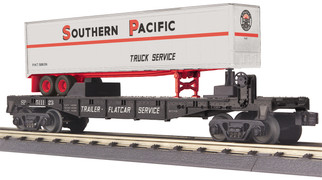 30-76738 O Scale MTH RailKing Flat Car w/40' Trailer-Southern Pacific Car No. 511123