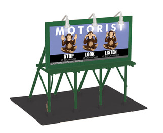 30-90584 O Scale MTH Lighted Billboard-Stop, Look, Listen