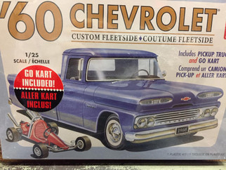 "AMT1063 AMT ""60 Chevrolet Custom Fleetside w/Go Kart 1/25 Scale Plastic Model Kit"