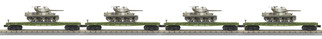 30-7096 O Scale MTH RailKing 4-Car Flat Car w/M10 Wolverine Tank Set-U.S. Army