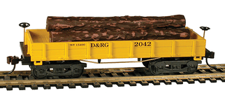 724008 HO Scale Mantua 1860 Wooden Log car-D&RG