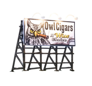 JP5795 HO Scale Woodland Scenics Lighted Billboard-Just Plug-Wise Tobacco Co.