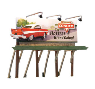 JP5793 HO Scale Woodland Scenics Lighted Billboard-Just Plug-Conoco Hottest Brand