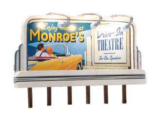 JP5794 HO Scale Woodland Scenics Lighted Billboard-Just Plug-Monroe's Drive-In
