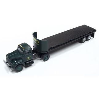 31183 HO Scale Classic Metal Works IH R-190 Tractor/32' Flat Bed Trailer set-Elkins Logging Co.