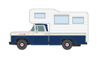 30565 HO Scale Classic Metal Works 1960 Ford Camper Truck-Blue/White