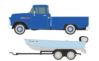 40012 HO Scale Classic Metal Works 1957 Chevy StepSide Pickup/Boat & Trailer-Blue