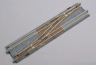 20-230 N Scale Kato Concrete Tie Double Track #4 Single Crossover Turnout-Left