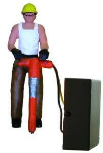 7003-1 O Scale Model Power Lighted Figure-Construction Worker w/Jackhammer