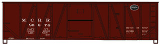 4120 HO Scale Accurail 40' Single Sheathed Wood Boxcar w/Wood Doors & Wood Ends Kit-Michigan Central #80674(Boxcar Red/Black New York Central System Logo)