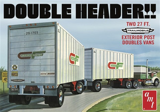 AMT1132 AMT Double Header Two 27 Ft. Exterior Post Double Vans 1/25 Scale Plastic Model Kit