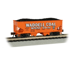 19557 N Scale Bachmann USRA 55-Ton 2-Bay Hopper w/Load-Waddell Coal #101