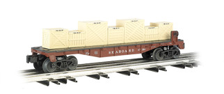 47554 O Scale Williams by Bachmann Flat Car w/Crates-Seaboard