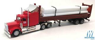 6536 HO Scale Herpa W-900 Tractor w/40' Flat w/Pipe Load