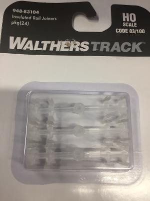948-83104 HO Scale Walthers Track Insulated Rail Joiners (24) Code 83/100