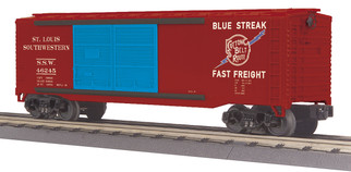 30-71008 O Scale MTH RailKing 40' Double Door Plugged Box Car-Cotton Belt Car No. 46245