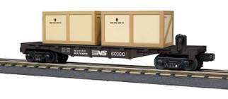 30-76702 O Scale MTH RailKing Flat Car w/(2) Crates-Norfolk Southern #603010