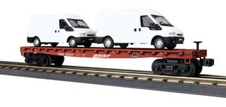 30-76676 O Scale MTH RailKing Flat Car w/(2) Ford Transit Van-BNSF #552017