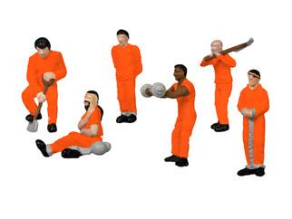 1957180 HO Scale Lionel Prison Work Crew-Orange