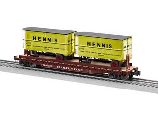 2026641 O Scale Lionel Trailer Train/Hennis 50' Flatcar w/20' Trailers #475231