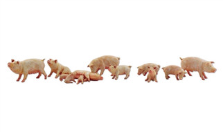A2218 N Scale Woodland Scenics Yorkshire Pigs