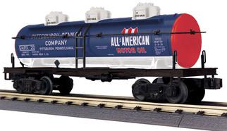 30-73575 O Scale MTH RailKing 3-Dome Tank Car-All American Motor Oil