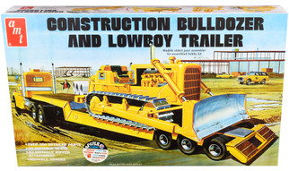 AMT1218 AMT Construction Bulldozer and Lowboy Trailer Kit 1/25 Scale Plastic Model Kit