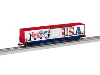 2026330 O Scale Lionel I Loive USA LED 60' Flag Boxcar